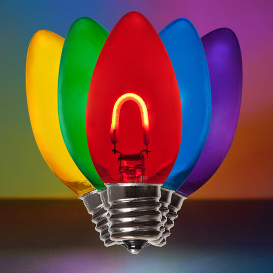C9 Vintage LED Light Bulbs, Multicolor, Transparent Glass