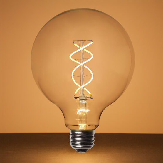 G125 Globe Light FlexFilament TM LED Edison Light Bulb, Warm White Transparent Glass