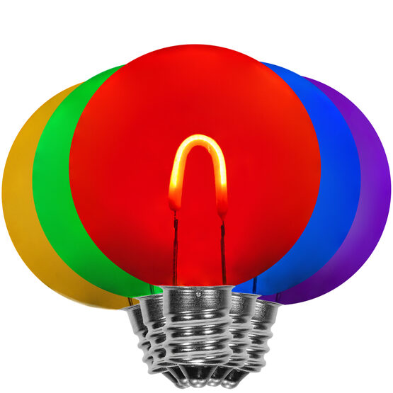 G50 FlexFilament TM Vintage LED Light Bulb, Multicolor Transparent Acrylic