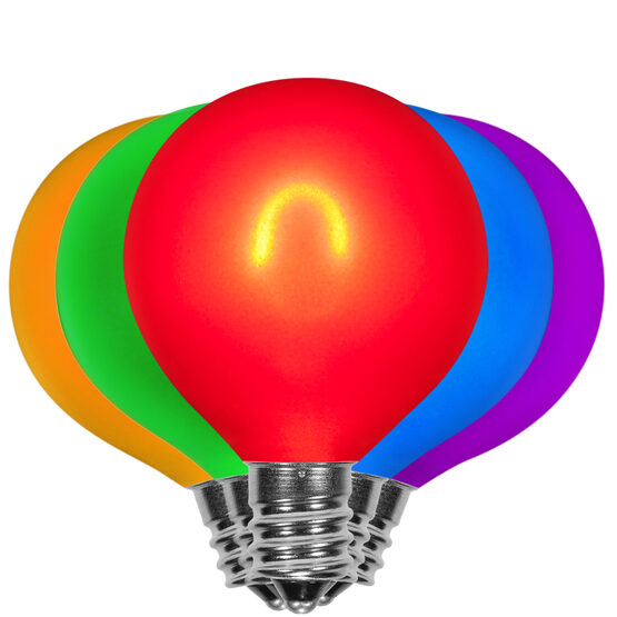 G50 Vintage LED Light Bulb, Multicolor Satin Glass