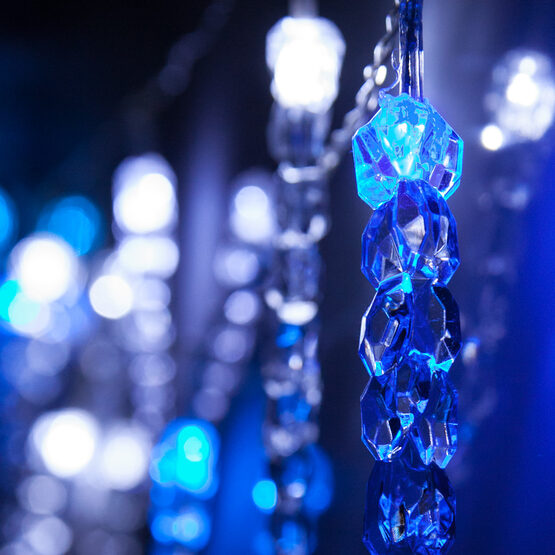 Battery Operated LED Icicle String Lights, 10 Blue-Cool White Twinkle Lights