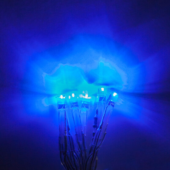 Aurora Superstar TM Light String, 12 Blue LED Mini Lights, Clear Wire