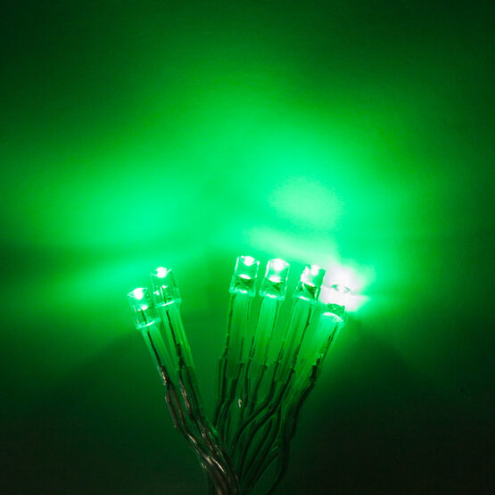 Aurora Superstar TM Light String, 12 Green LED Mini Lights, Clear Wire