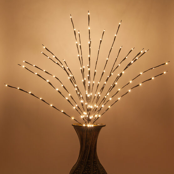 Brown LED Lighted Branches, Warm White Lights, 1 pc