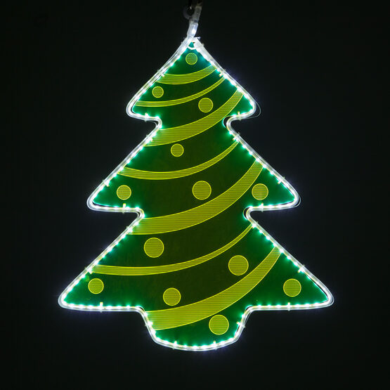 Electric Green Lit Tree with Decorative Laser Etching