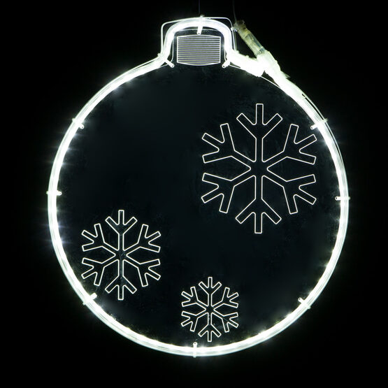 Clear Lit Ornament with Snowflake Laser Etching