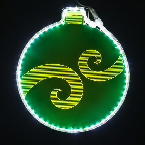 Electric Green Lit Ornament with Swirl Design Laser Etching