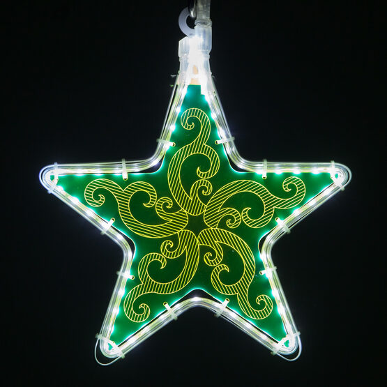 Electric Green Star Light with Ornamental Filigree Laser Etching