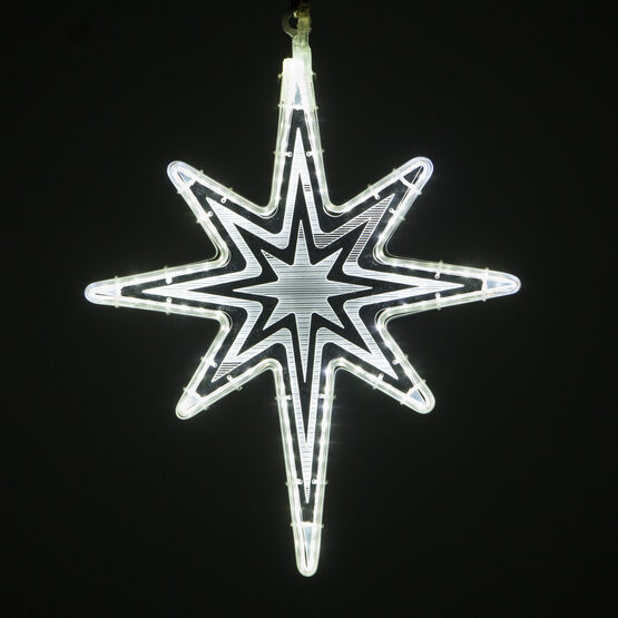 Clear Bethlehem Star Light with Starburst Laser Etching