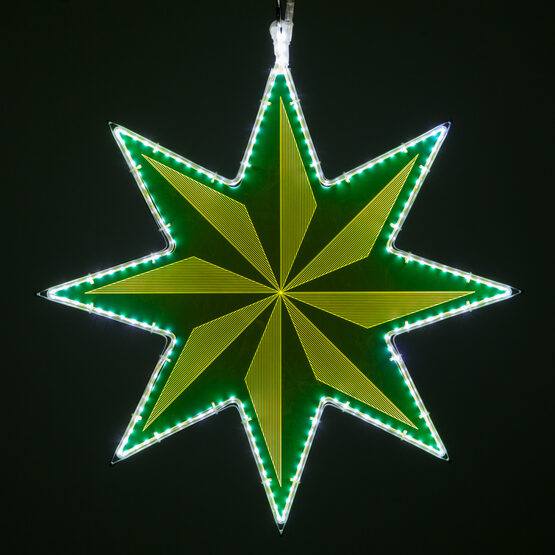 Electric Green 8 Point Star Light with Pinwheel Laser Etching