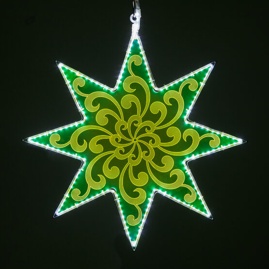 Electric Green 8 Point Star Light with Swirl Filigree Laser Etching