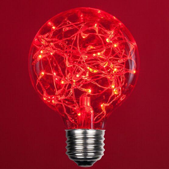 G80 LEDimagine TM Fairy Globe Light Bulb, Red