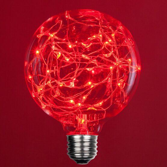 G95 LEDimagine TM Fairy Globe Light Bulb, Red