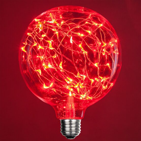 G125 LEDimagine TM Fairy Globe Light Bulb, Red