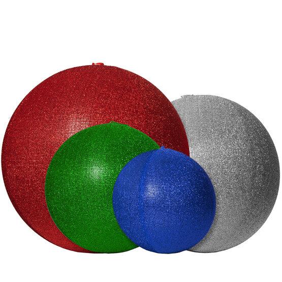 "20"" White Inflatable Christmas Ornament, Metallic Polymesh"