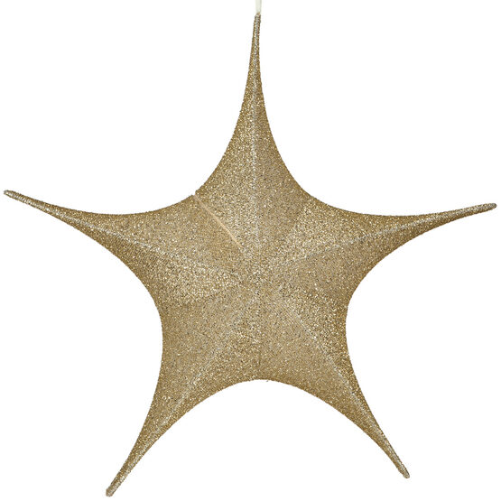 "26"" Gold Unlit Hanging Star, Fold Flat Frame with Metallic Polymesh"