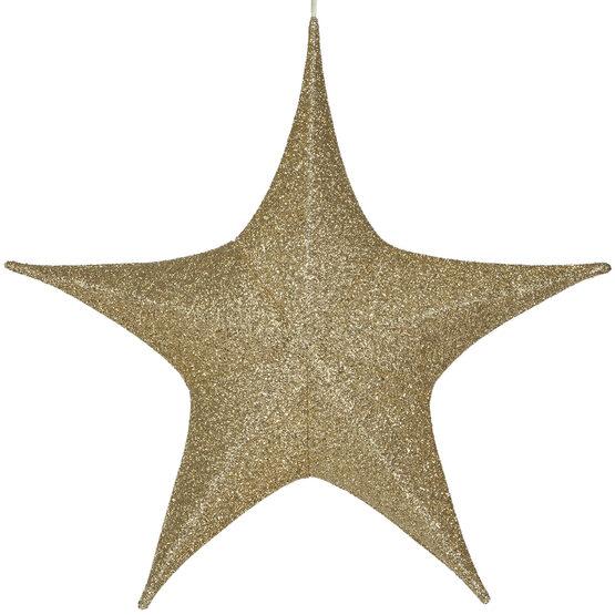 """32"""" Gold Unlit Hanging Star, Fold Flat Frame with Metallic Polymesh"""