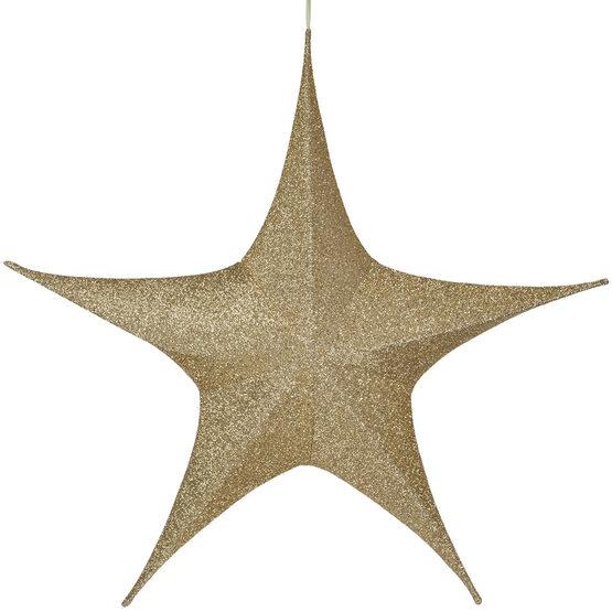 """44"""" Gold Unlit Hanging Star, Fold Flat Frame with Metallic Polymesh"""