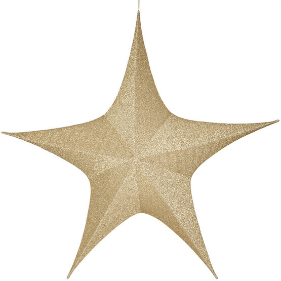 "60"" Gold Unlit Hanging Star, Fold Flat Frame with Metallic Polymesh"