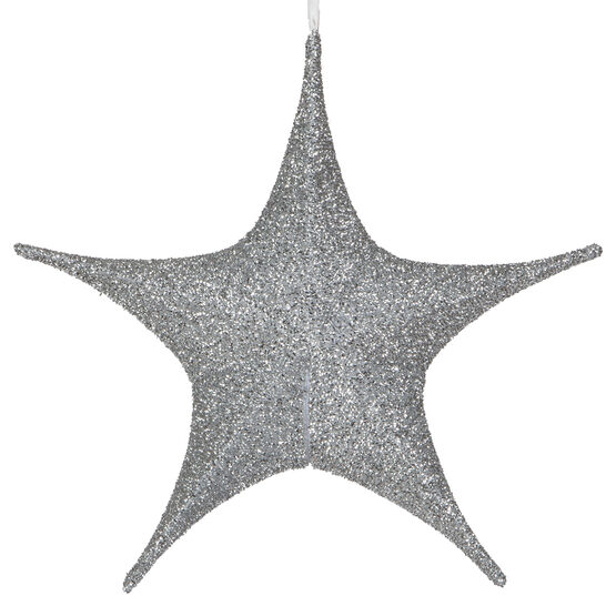 "16"" Silver Unlit Hanging Star, Fold Flat Frame with Metallic Polymesh"
