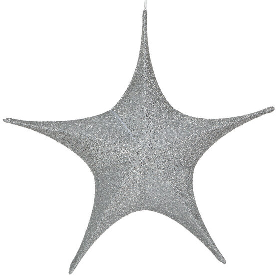 "26"" Silver Unlit Hanging Star, Fold Flat Frame with Metallic Polymesh"