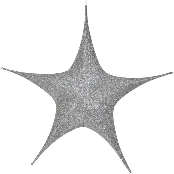 "44"" Silver Unlit Hanging Star, Fold Flat Frame with Metallic Polymesh"