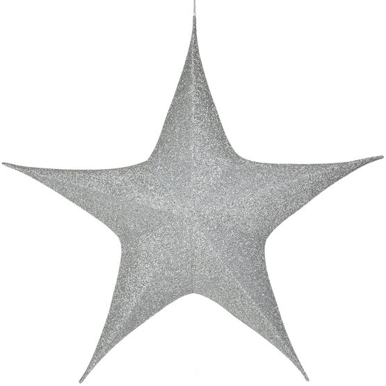 "54"" Silver Unlit Hanging Star, Fold Flat Frame with Metallic Polymesh"