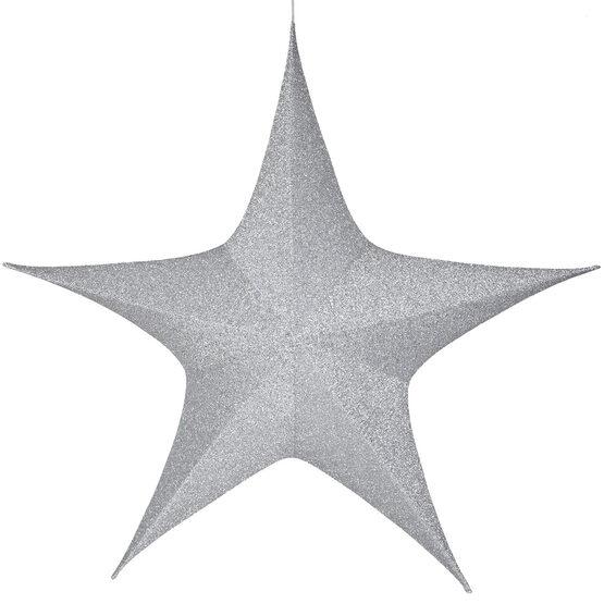 "60"" Silver Unlit Hanging Star, Fold Flat Frame with Metallic Polymesh"