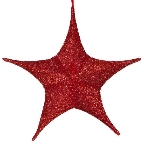 "16"" Red Unlit Hanging Star, Fold Flat Frame with Metallic Polymesh"