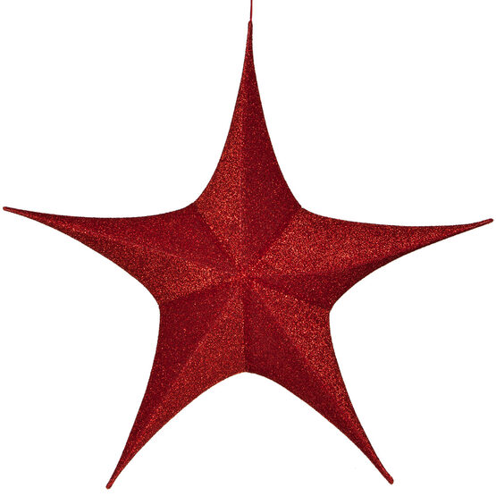 "44"" Red Unlit Hanging Star, Fold Flat Frame with Metallic Polymesh"