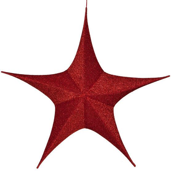 "44"" Red Unlit Hanging Star, Fold Flat Frame with Metallic Polymesh"