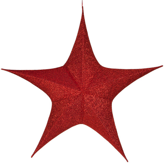 "54"" Red Unlit Hanging Star, Fold Flat Frame with Metallic Polymesh"