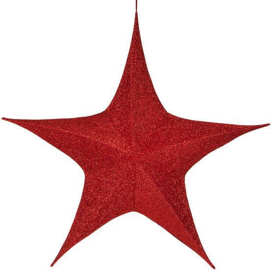 "60"" Red Unlit Hanging Star, Fold Flat Frame with Metallic Polymesh"