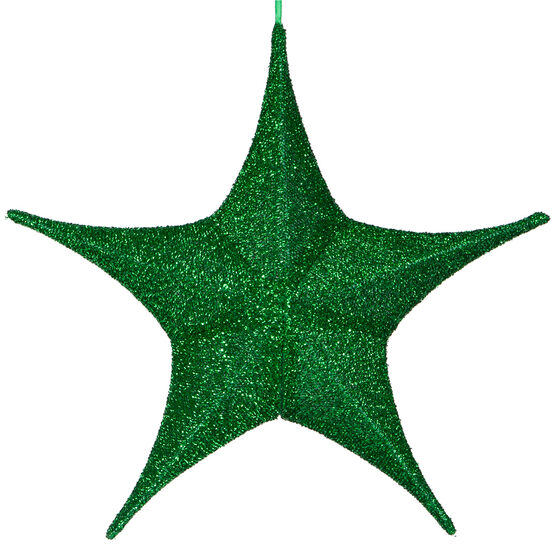 "16"" Green Unlit Hanging Star, Fold Flat Frame with Metallic Polymesh"