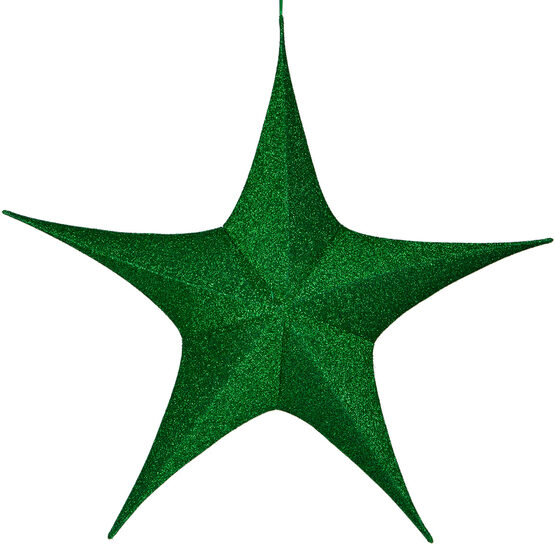 "44"" Green Unlit Hanging Star, Fold Flat Frame with Metallic Polymesh"