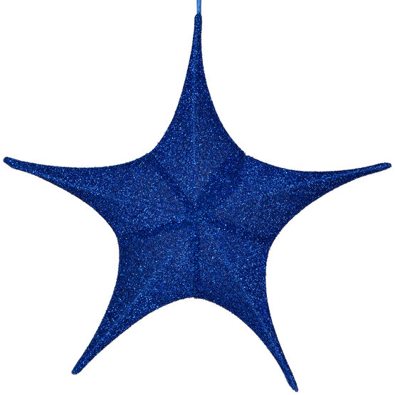 "26"" Blue Unlit Hanging Star, Fold Flat Frame with Metallic Polymesh"