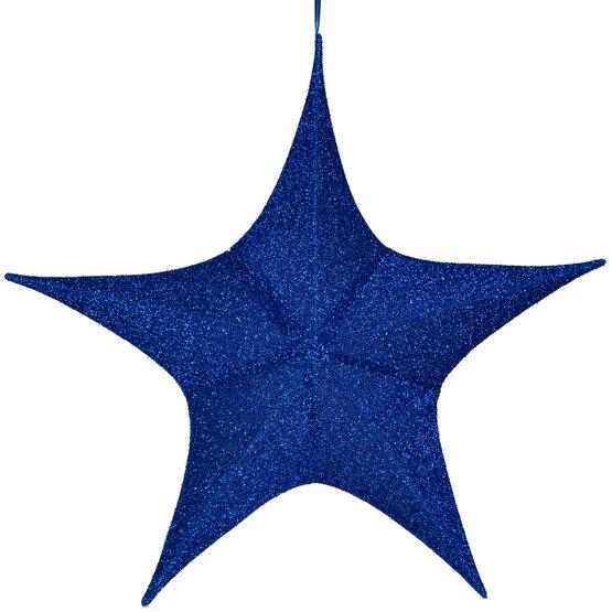 "32"" Blue Unlit Hanging Star, Fold Flat Frame with Metallic Polymesh"