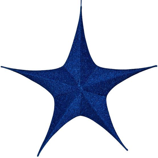 "44"" Blue Unlit Hanging Star, Fold Flat Frame with Metallic Polymesh"