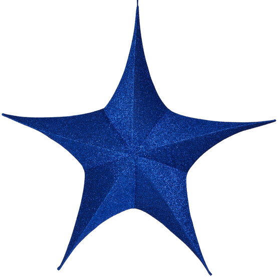 "54"" Blue Unlit Hanging Star, Fold Flat Frame with Metallic Polymesh"