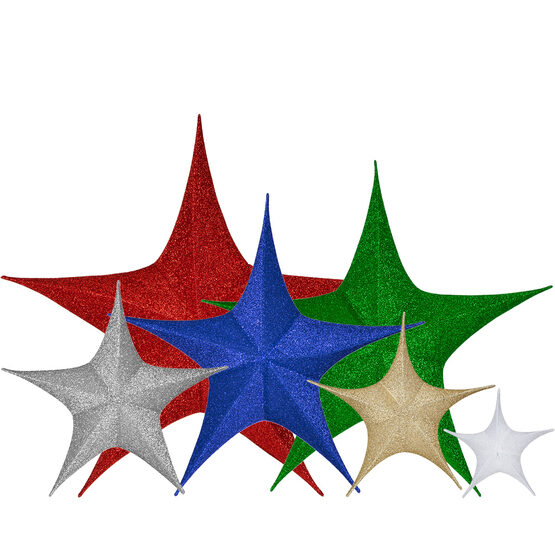 "16"" Blue Unlit Hanging Star, Fold Flat Frame with Metallic Polymesh"