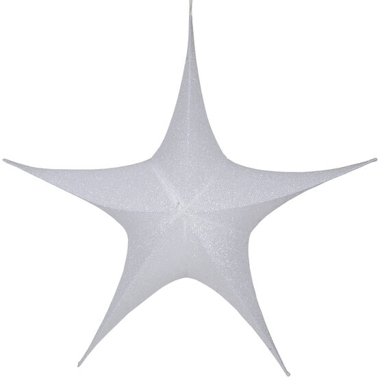 "44"" White Unlit Hanging Star, Fold Flat Frame with Metallic Polymesh"