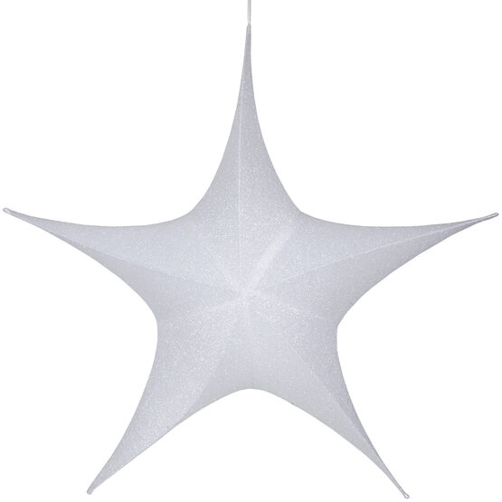 "54"" White Unlit Hanging Star, Fold Flat Frame with Metallic Polymesh"
