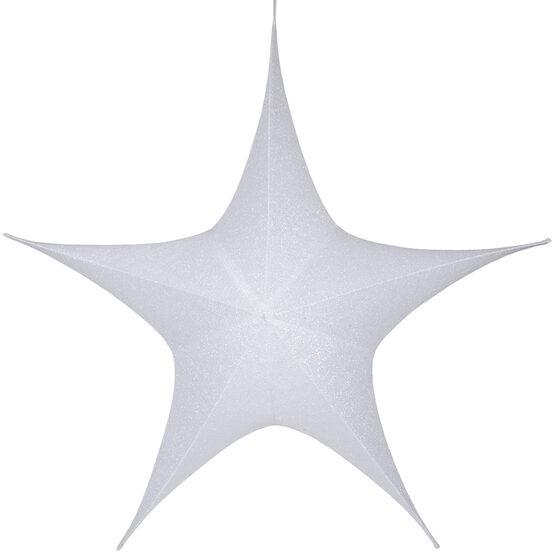 """60"""" White Unlit Hanging Star, Fold Flat Frame with Metallic Polymesh"""