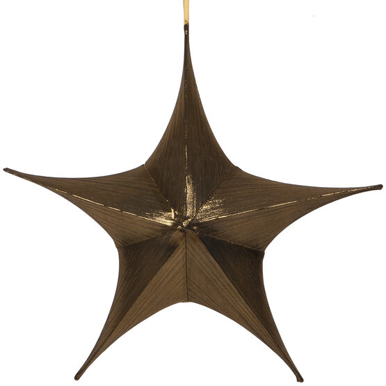 "26"" Gold Unlit Hanging Star, Fold Flat Frame with Metallic Lame"