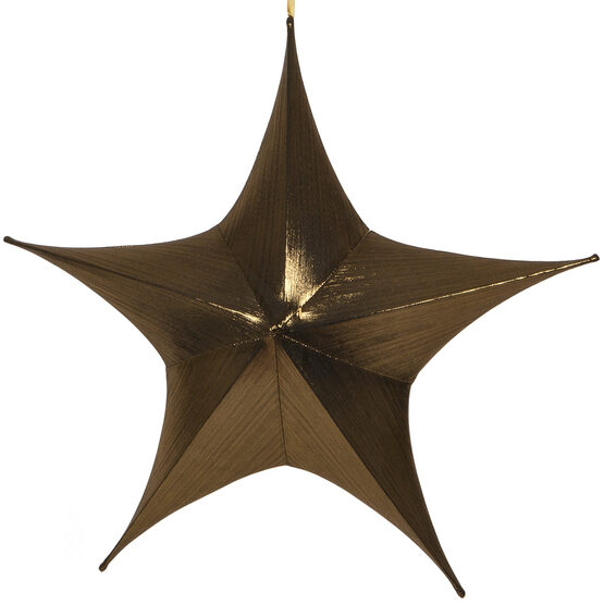 "32"" Gold Unlit Hanging Star, Fold Flat Frame with Metallic Lame"