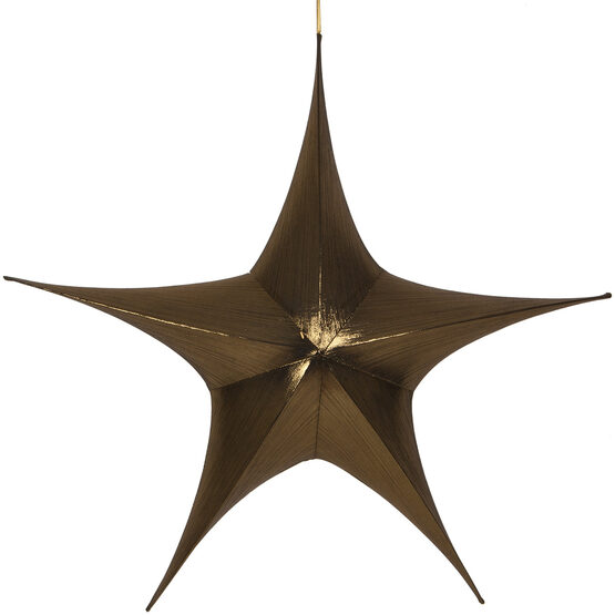 "44"" Gold Unlit Hanging Star, Fold Flat Frame with Metallic Lame"