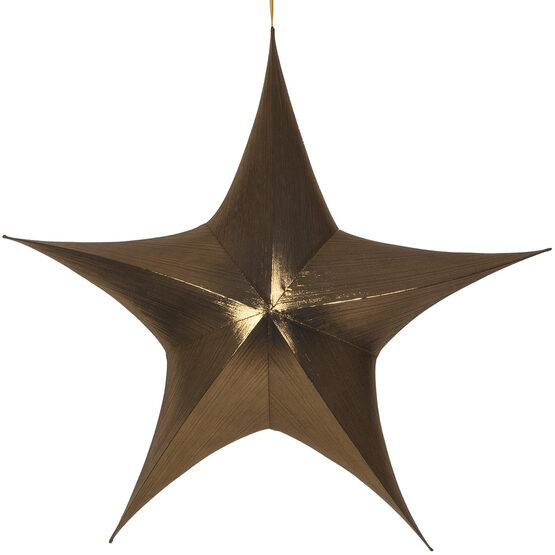 "54"" Gold Unlit Hanging Star, Fold Flat Frame with Metallic Lame"