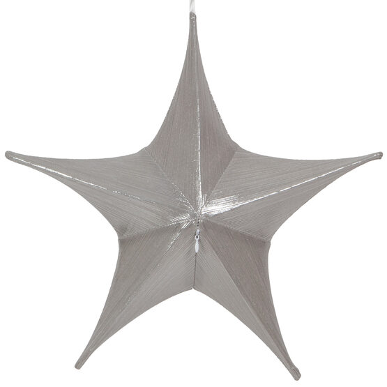 "16"" Silver Unlit Hanging Star, Fold Flat Frame with Metallic Lame"