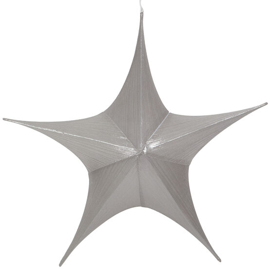 "26"" Silver Unlit Hanging Star, Fold Flat Frame with Metallic Lame"