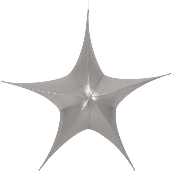 "44"" Silver Unlit Hanging Star, Fold Flat Frame with Metallic Lame"